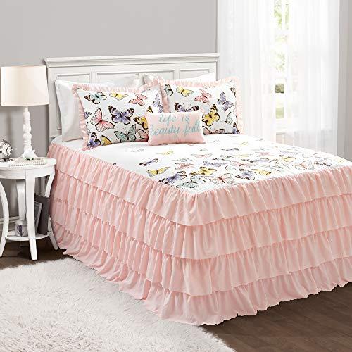 Lush Decor Pink Flutter Butterfly 4-Piece Bedspread Set, Cute Comforter (Full)
