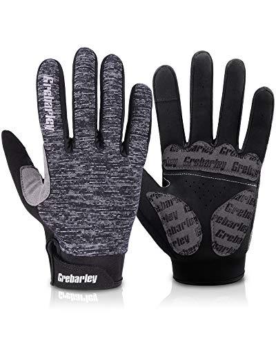 Grebarley fahrradhandschuhe,MTB Handschuhe,Mountainbike Handschuhe mit Touchscreen Finger fürs Radsport,Road Race,Downhill,Wandern,fahrradhandschuhe Männer und Frauen (L, Grau-Neu)
