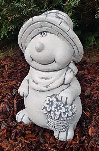 Gartenfigur niedliche Maulwurf Dame groß frostfest handgearbeitet Steinfigur Deko für Garten Balkon Terassen