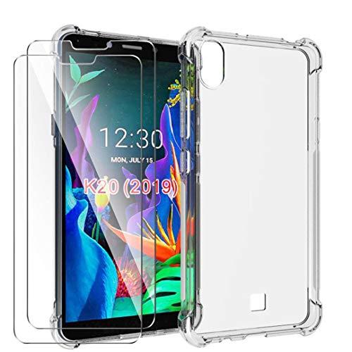 HYMY Hülle für LG K20 2019 Smartphone + 2 x Schutzfolie Panzerglas -Transparent Erdbebenresistenz Schutzhülle TPU Handytasche Tasche Verstärkung an Vier Ecken Hülle für LG K20 2019 (5.45