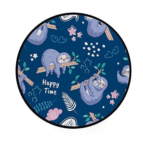 Kinder-Spielteppich, rund, Baumwolle, niedliches Koala-Muster, maschinenwaschbar, für Wohnzimmer, Schlafzimmer, Kinderspielzimmer, Durchmesser 92 cm