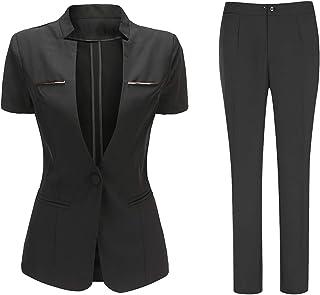 Women's 2 Piece Business Office Suit Set One Button Blazer Jacket and Suit Pants