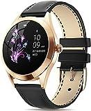 hwbq Reloj de mujer conectado con interfaz dinámica impermeable IP68 deportes smartwatch sueño y calorías Monitor redondo oro reloj inteligente para Android