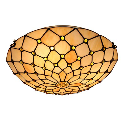 Lámparas De Techo De Estilo Tiffany, Pantalla De Cristal De Colores Para Soldar A Mano, Dormitorio, Lámpara De Techo Para Decoración De Sala De Estar, E27 De 16 Pulgadas,A