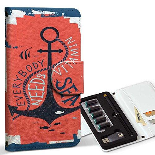 スマコレ ploom TECH プルームテック 専用 レザーケース 手帳型 タバコ ケース カバー 合皮 ケース カバー 収納 プルームケース デザイン 革 碇 海 英語 014499