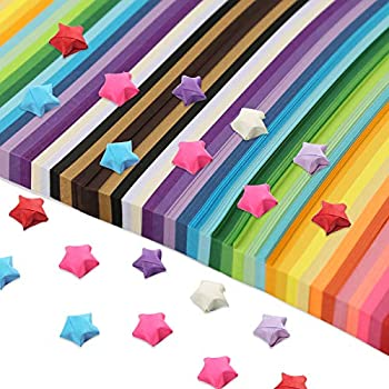 2060 Sheets Star Origami Paper 27 Assortment Color Star Paper Strip Double Sided Origami Stars Paper Solid Color Decoration Paper Strips DIY Hand Art Crafts