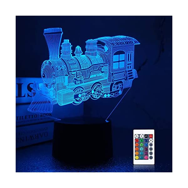 Lampeez 3D Steam Train Lamp Night Light 3D Illusion lamp for Kids, 16 Colors Changing with Remote, Kids Bedroom Decor as Xmas Holiday Birthday Gifts for Boys Girls Nursery Decor Lighting