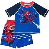 Marvel Avengers Spiderman Toddler Boys Raglan Rash Guard Swim Trunks Set Blue/Red 2T