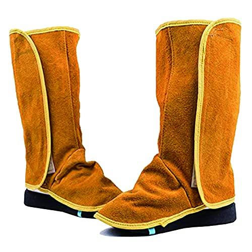 Protectores de botas de trabajo para soldador, 1 par de polainas de cuero para soldar Fundas de zapatos resistentes a las llamas Protector de zapatos de trabajo para soldador Polainas Cubiertas bot