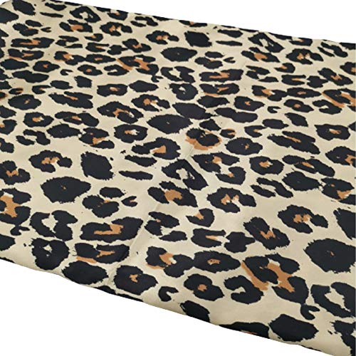 Naponior Stoff mit Leopardenmuster Mode Polyester Tier Leopard Quilting Stoff für Jacke Hose Pullover Rock Tischdecke Staubschutz Stoff DIY Stoff