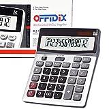 OFFIDIX Calculadoras de teclas grandes, calculadora de escritorio, solar y batería Calculadora electrónica de doble potencia Portátil Calculadora de pantalla LCD grande de 12 dígitos (Plata)