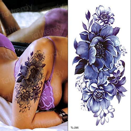 tatuaje pegatina flor tatoo para mujer removedor tatoo azul púrpura flor tatuajes y pegatinas de arte corporal bikini verano en tatuajes desde arriba TL295