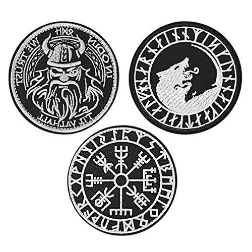 FaithHeart Patch Patch Patch Patch con gancio e anello di San Michele Patch Sangue, Fascia da braccio ricamata, applique da campeggio, colore: Simbolo Vegvisir, cod. TB12427-E