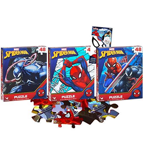 Marvel Spiderman Puzzle for Kids Bundle Spiderman Activity Set - 3 Pack Spiderman Puzzles 48 Piece Each with Spiderman Stickers (Spiderman Toys for Boys)