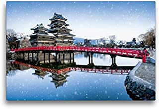 CALVENDO Premium Textil-Leinwand 45 cm x 30 cm Transversal, Burg Matsumoto, Imagen sobre Bastidor, Fertigbild en verdadera Lienzo, Leinwanddruck Lugar Lugares