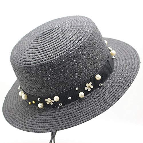 SFBBBO Sonnenhut Frauen Strand Sonnenblende Hüte Stroh Panama Hüte für Lady Pearl Sonnenhut Sommer Strohhut Erwachsene 12