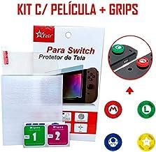 Película Vidro Temperado 3mm Nintendo Switch + 4 Grips Para Joy-con