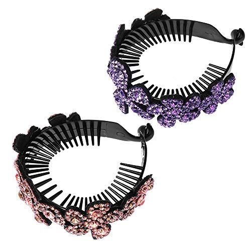 ISKYBOB 2 Pieces Rhinestone Flower Ponytail Holder Twist Bun Shaper Women Hair Grips Claw, Pink+ Violet