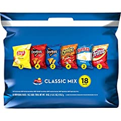 18 Count Mix includes: 3- LAY'S Classic Potato Chips, 4- DORITOS Nacho Cheese Flavored Tortilla Chips, 2- DORITOS COOL RANCH Flavored Tortilla Chips, 4- CHEETOS Crunchy Cheese Snacks, 2-RUFFLES Ridged Potato Chips , and 3- FRITOS Original Corn Chips ...