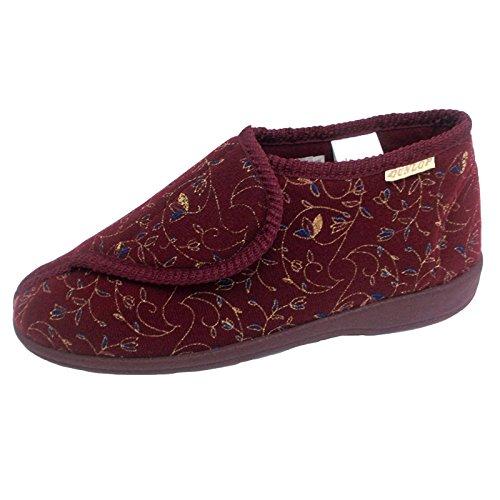 Dunlop Mujer Rojo Borgoña Zapatillas De Velcro Ortopédica EU 41