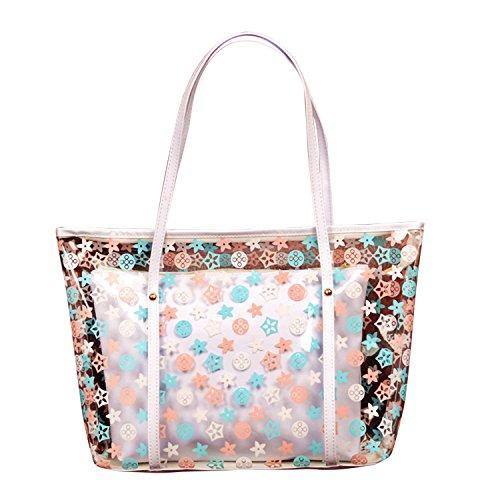 semen Damen Wasserdicht Strandtasche Transparent Schultertasche Blumen Punkte Muster Druck Trägertasche 2 in 1 Rwißverschluss Reisetasche Schultertasche Strandtasche Sommer viele Farben