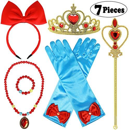 Joinfun 7Pcs Schneewittchen Kostüm Kinder Prinzessin Zubehör Snow White Haarreife Krone Handschuhe Mädchen Zauberstab Halskette Armband Ohrringe für Karneval Halloween Weihnachten (Schneewittchen)