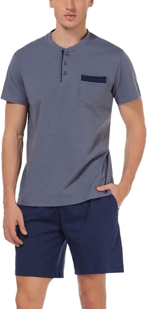 Hawiton, pigiama da uomo estivo, due pezzi,  100% cotone, b-blu grigio scuro