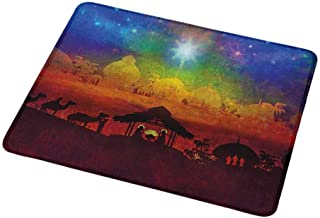 Gaming Mouse Pad Abstract,Vibrant Birth Scene in Bethlehem Christmas Inspiration Camels Exotic Tribal Trees,Custom Non-Slip Mouse Mat 9.8