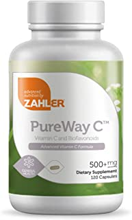 Zahler Pureway C 500mg, Advanced Vitamin C Supplement, Certified Kosher, 120 Capsules