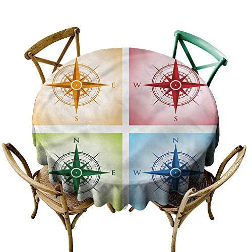 familytaste Compass,Picnic Circle Tafelkleed Oude Kaart Gebieden Ronde Tafelkleed