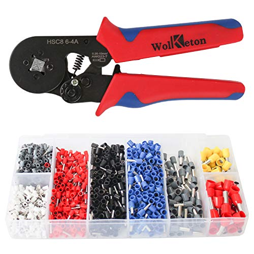 wolketon Crimpzangen Aderendhülsen Set mit 1200 stück Kabelschuhe 0,25-10,00 qmm für Isoliert und nicht isoliert Kabelschuhe