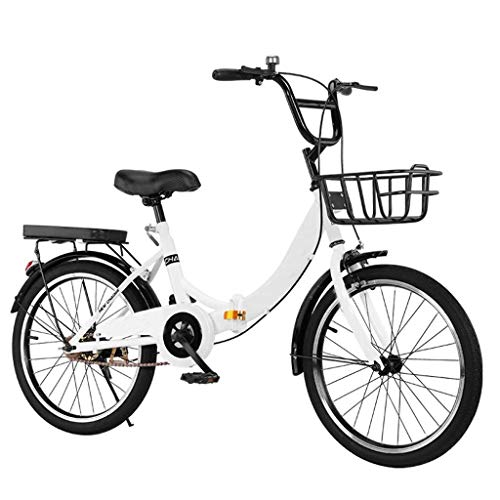 Ultra-Light Portable 20in/24in/26in Single-speed Folding Bike, Adjustable Aluminum Alloy Goose Head Stand Bicycle, Anti-skid and Wear-resistant Tires, Front and Rear Double Brakes Bikes, Bike Basket C