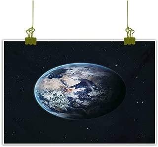 Homrkey Art Oil Paintings Planet Earth Outer Space Scenery of Globe Orbit Discovery Universe Artwork Print Dark Blue Grey Modern Minimalist Atmosphere 20