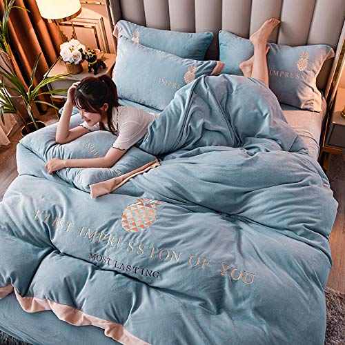 Shinon white king size duvet cover sets,Winter thick warm flannel single bed single king-size duvet cover simple bedding set-K_2.0m bed (4 pieces)