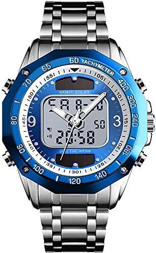 Reloj deportivo para hombre, cronómetro, función despertador, semana visualización y calendario, sistema de 12/24 horas, color plateado y azul