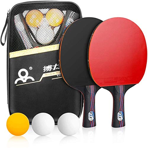 N-brand Juego de ping pong, juego de raqueta de ping pong portátil con fundas de transporte para entrenadores, aficionados, principiantes, expertos