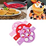 3 Pack Pancake Molds Ring Fried Egg Baking Mold Reusable Silicone Non-Stick Pancake Maker Dishwasher Safe (Heart Round Star)