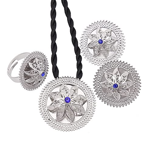 Conjuntos de joyas de plata etíope, blanco, azul, rojo, piedra, plateado, Habesha, novia, boda, cadena Eritrea