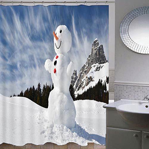 Duschvorhang-Weihnachtsserie 195,Anti-Schimmel Anti-Bakteriell Wasserdichter Badvorhang 3D Wirkung Polyester Duschvorhang Mit 12 Haken,Umweltfre&lich Waschbar Duschvorhang 120X180Cm