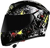Helmet Bluetooth Integrated Motorcycle Modular Flip Up Helmet Motorbike Crash Helmet with Double Visor DOT/ECE Approved Full Face Helmet for Men Women Four Seasons 3, L=(59~60CM)