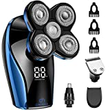 Electric Razor for Men - OriHea Head Shavers for Bald Men with LED Display, Faster-Charging 5D Floating Waterproof Electric Shaver for Men with Hair Clippers,Nose Hair Trimmer Blue