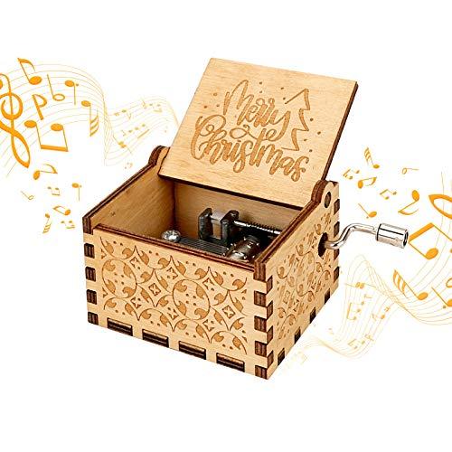 LINGSFIRE Caja de música de madera de Navidad, para amigos de familia, niños, decoración de Navidad, manivela de mano, caja de música antigua, tallada vintage, creativa, regalo de Navidad