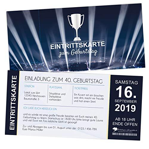 Einladungskarte zum Geburtstag, Eintrittskarte Fußball, personalisierte Einladungskarte, Geburtstagskarte Fußball, Fußballticket (350g Papier, 21 x 10 cm) (20)