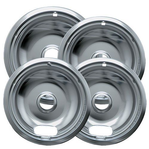 Range Kleen 10124XZ Chrome Style A Drip Pans Sets of 4, 3 6 Inch and 1 8 Inch