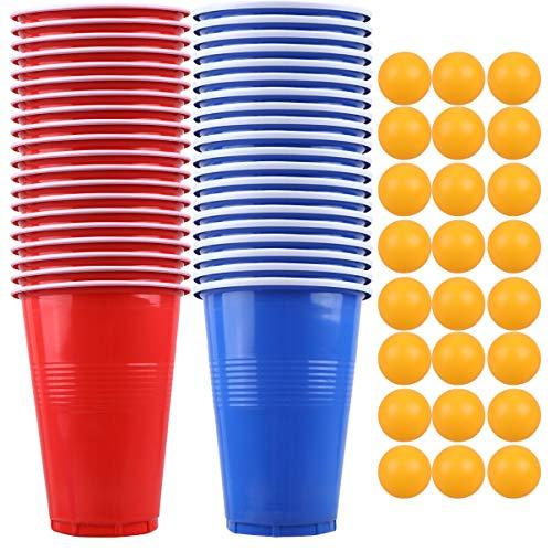 TOYANDONA Bier Pong Set Nieuwigheden Toernooi Game Kit 20 Stuks Bekers en 24 Stuks Ping Pong Ballen Drinken Spel Set Vrijgezellenfeest Bordspellen