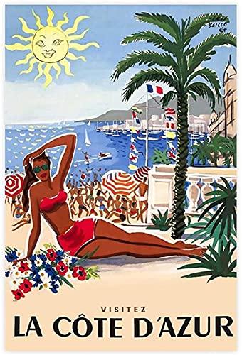 FZSMXH Pintura De La Lona 30x50cm Sin Marco Póster de la Riviera Francesa - Póster de la Costa Azul, impresión de Viaje, Imagen Impresa del Sur de Francia para la decoración del Dormitorio