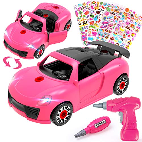 REMOKING Decorate Your Own Car Toy with 3D stickers,2 IN 1 Take Apart Racing Car with Drill Tool,Construction Toys with Sound Light,STEM Educational Vehicle Gift for Girls Aged 3+,Fun Art & Craft Set