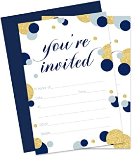 Navy and Gold Party Invitations with Envelopes (15 Pack) Fill In Style Invites for Boys Baby Shower, Graduation, Birthday, Wedding, Rehearsal, Dinner Parties, any Occasion
