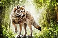 大人のためのジグソーパズル2000ピース-緑の森のオオカミ-DIY木製パズルキッズおもちゃ42x30in