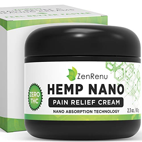 Hemp Cream for Pain Relief - Pain Lotion with Fast-Acting Nano Absorption Technology by ZenRenu - Strongest Hemp Oil Extract for Pain Relief